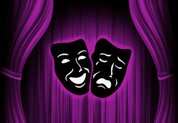 purple and black theater masks
