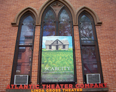 Atlantic Theater Window showing Scarcity poster